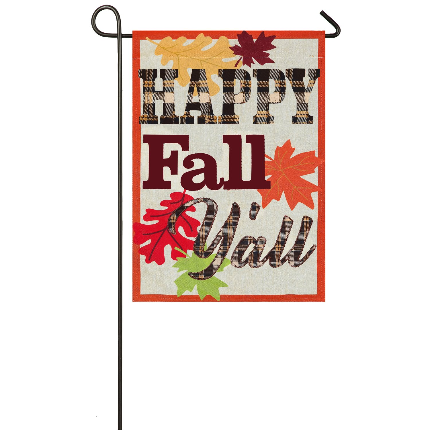 Evergreen Happy Fall Y'all Outdoor Safe Double-Sided Linen Garden Flag, 12.5 x 18 inches