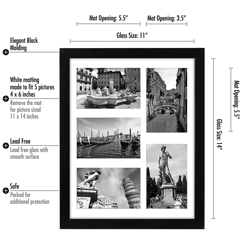 Marco de fotos Collage 11 x 14 - Muestra cinco 10,16 cm x 15,24 cm ...