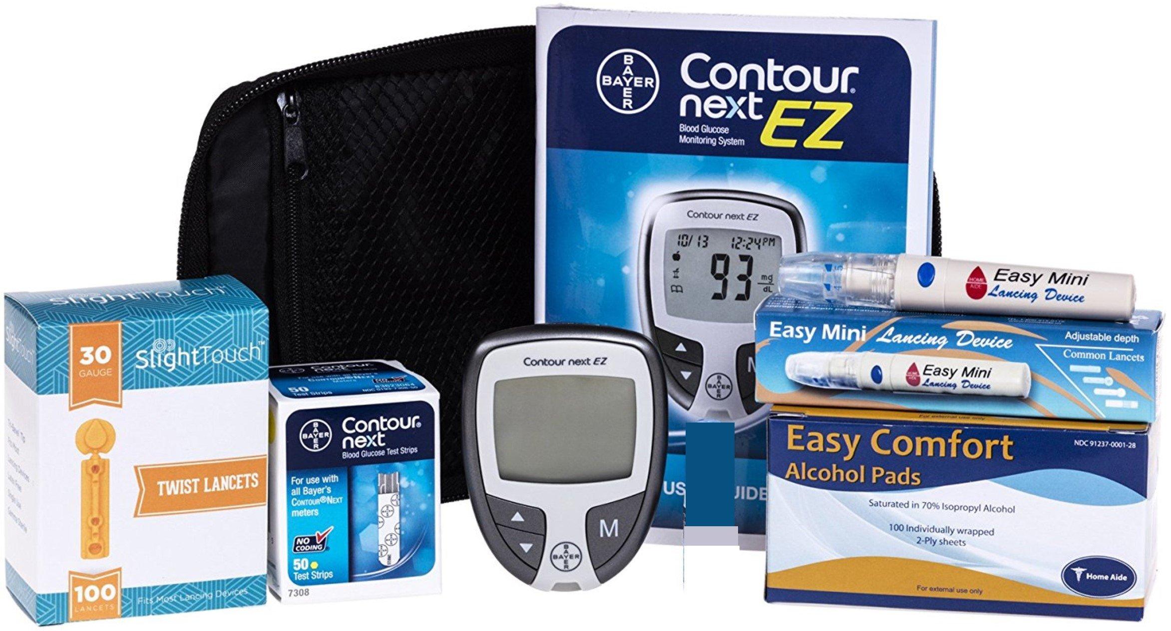 Contour Next Diabetes Testing Kit - Contour Next Ez Meter, 50 Bayer Contour Next Test Strips, 100 30g Lancets, 1 Lancing Device, 100 Alcohol Prep Pads