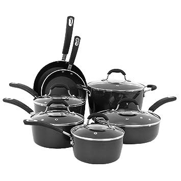 Oneida negro 12PC pfoe/PTFE libre de aluminio forjado sartenes antiadherentes. Apta para lavavajillas.: Amazon.es: Hogar