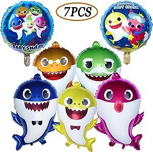 AWESMR Baby Shark Party Supplies, 2pcs Baby Shark Duplex Prints Foil Balloons, 5pcs Baby Shark Family Balloons, Baby Shark Birthday Party Decorations