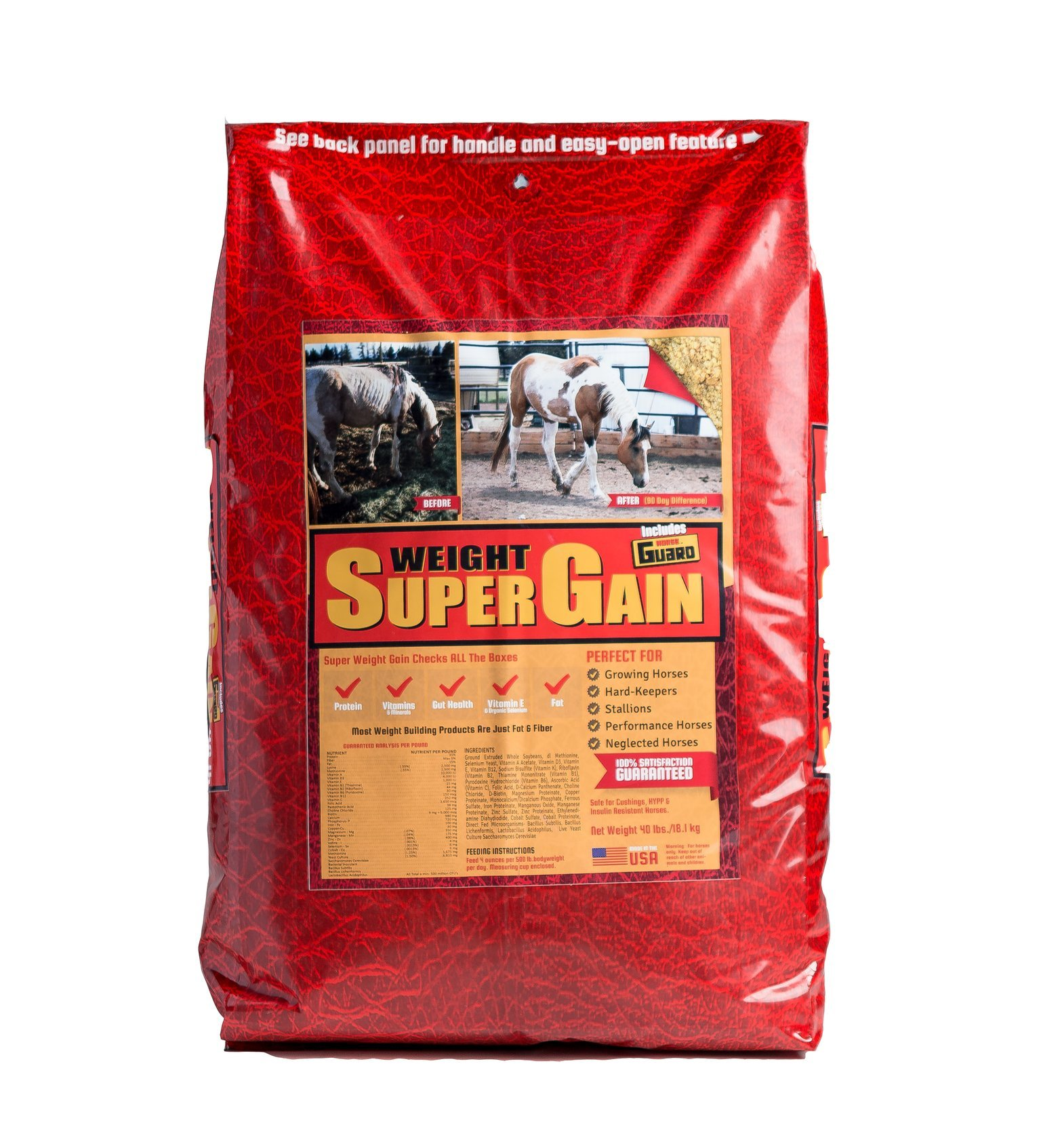Horse Guard Super Weight Gain Equine Vitamin Mineral, Probiotic & Weight Gain Supplement, 40 lb