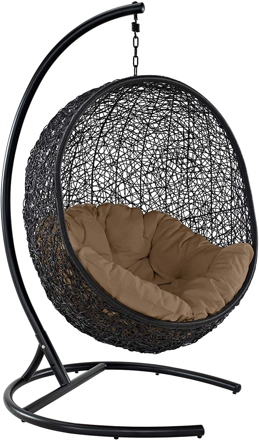 Modway EEI-739-MOC-SET Encase Wicker Rattan Outdoor Patio Porch Lounge Egg, Swing Chair with Stand, Mocha