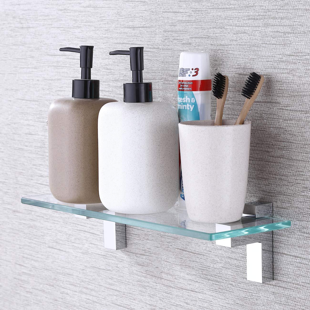 BGS3201S35 Polished Chrome Bracket KES Bathroom Tempered Glass Shelf 14 8MM-Thick Wall Mount Rectangular