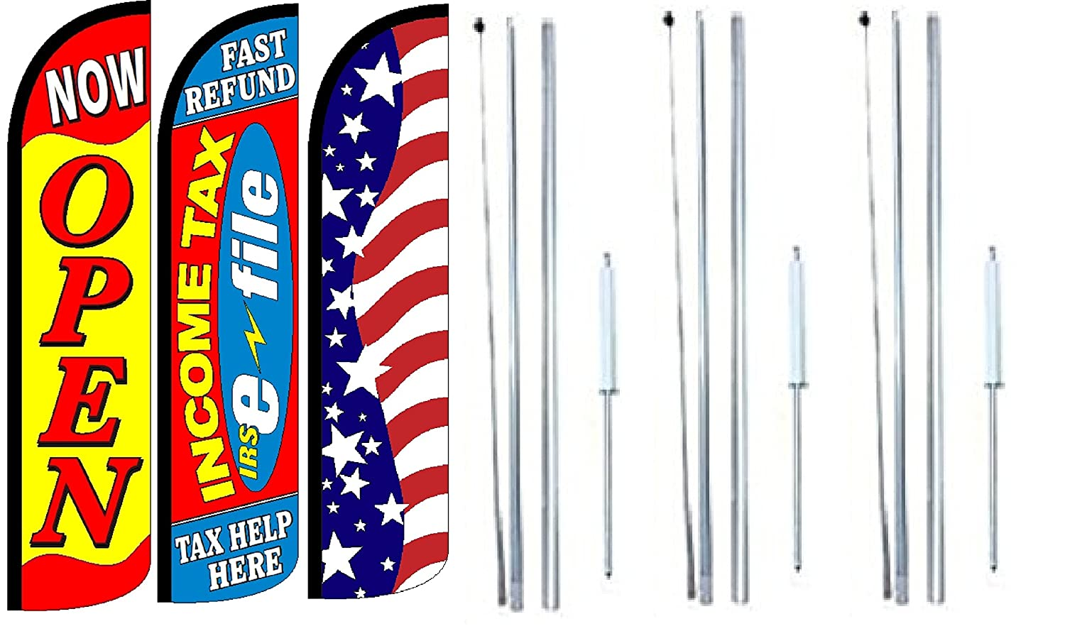 Pack of 4 FOODMART Snacks Drinks Smokes Welcome King Windless Feather Flag Sign Kit with Complete Hybrid Pole Set