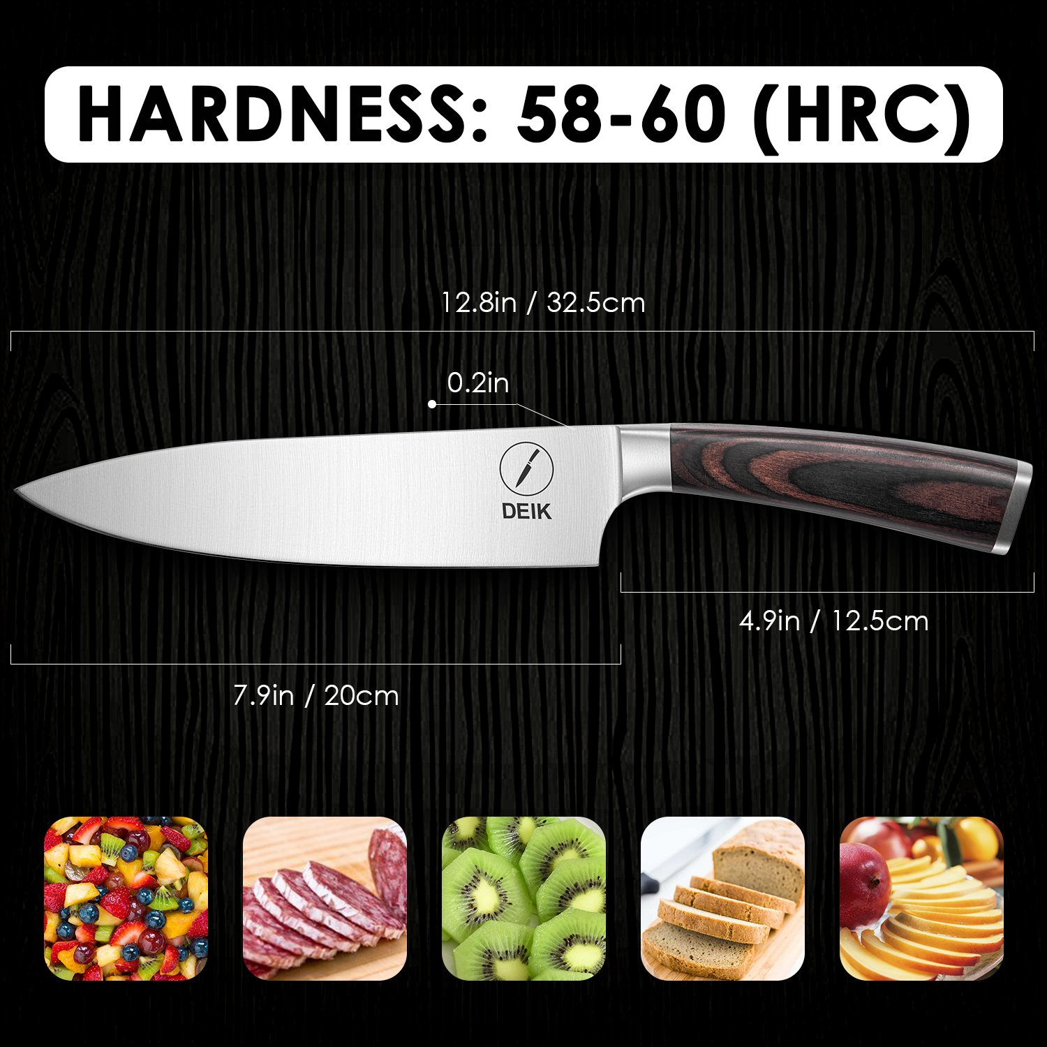 Deik Chef Knife, 8 Inch Kitchen Knife with 1.4116 Imported Stainless Steel, Professional Grade Balance and Super Sharp with Ergnonomic Classy Wooden Handle by Deik (Image #8)