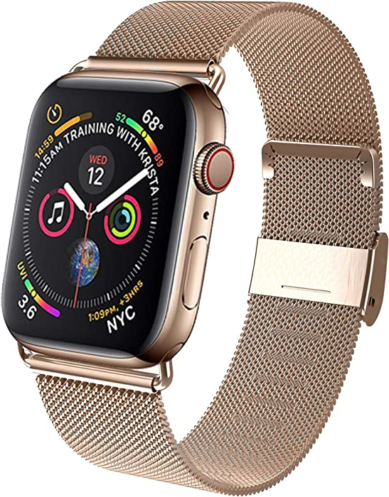 GBPOOT Band Compatible with Apple Watch Band 38mm 40mm 42mm 44mm, Wristband Loop Replacement Band for Iwatch Series 6/SE/5/4/3/2/1-Gold 42mm/44mm