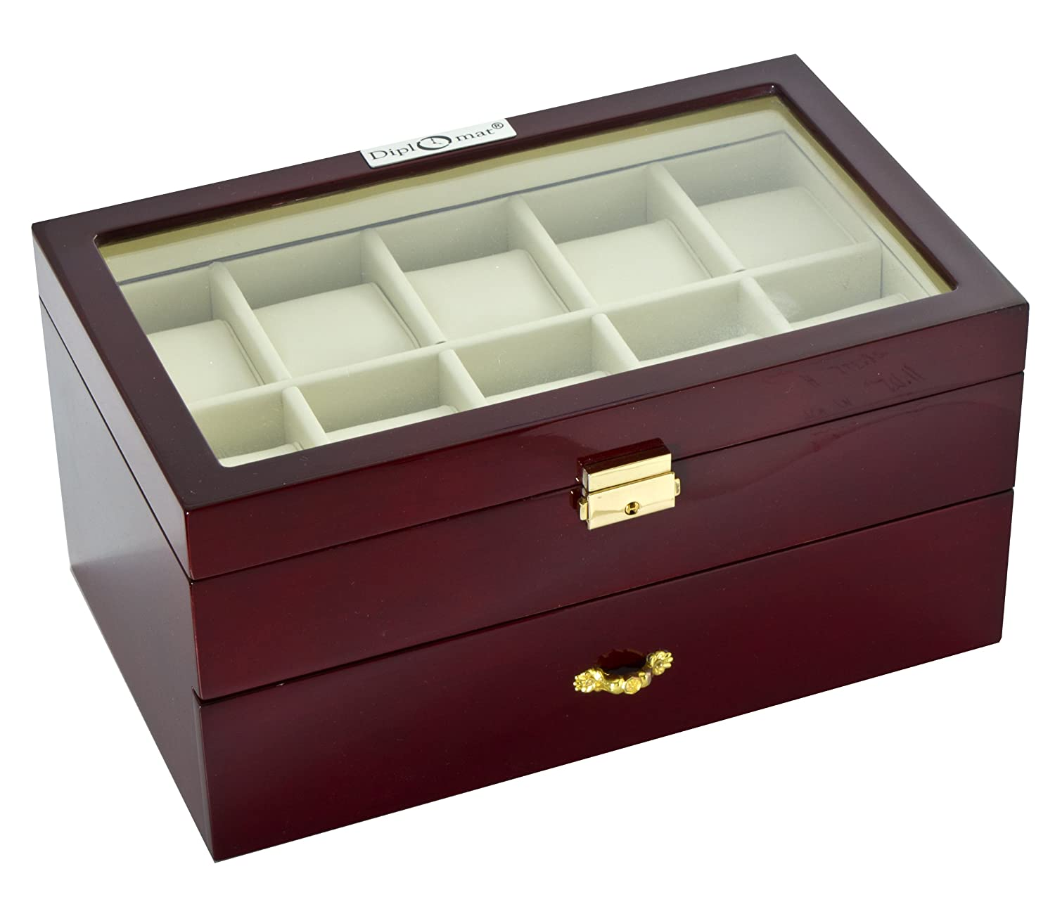 Amazon.com Diplomat 31-57714 Cherry Wood Finish with Clear Top and Cream Leather Interior 20 Watch Storage Case Watches  sc 1 st  Amazon.com & Amazon.com: Diplomat 31-57714 Cherry Wood Finish with Clear Top and ...