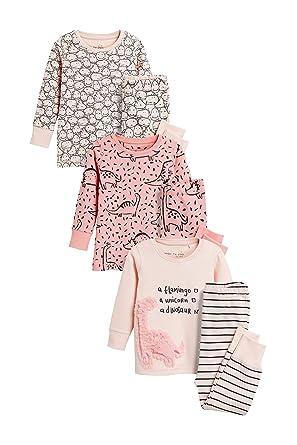 3a7ff87a7cf16 Next Fille Lot de Trois Pyjamas Douillets (9 Mois-8 Ans) Rose 7-8 ...