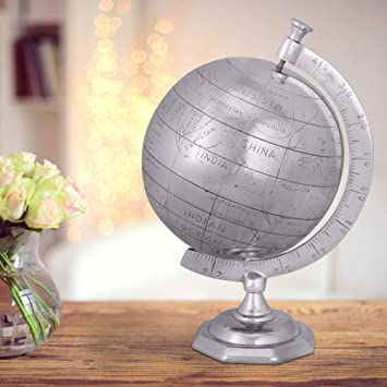 Finebuy Globus Weltkugel 22 X 35 X 22 Cm Aluminium Wohndekoration