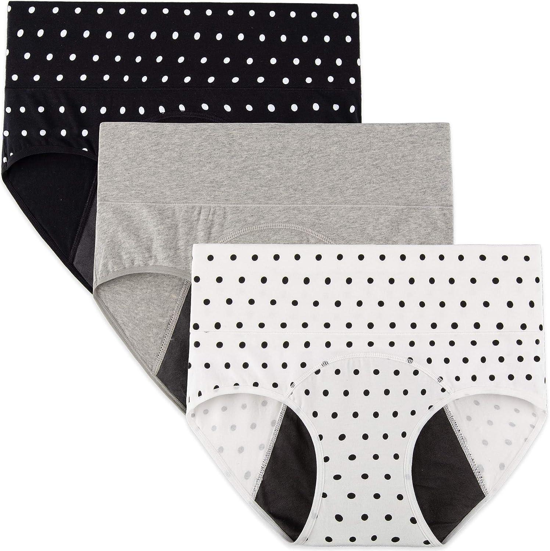 INNERSY Damen Perioden Unterwäsche Auslaufsichere Menstruation Slip Baumwolle 3er Pack (Muss mit Tampons verwenden)