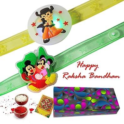 buy choota bheem with mickey mouse light blinking kids double rakhi