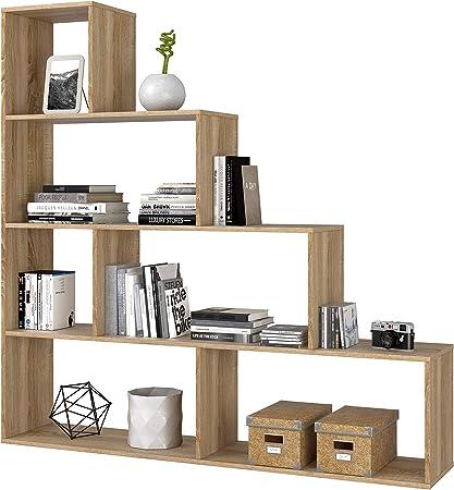 Habitdesign 002255F - Estantería Decorativa, Acabado en Roble Canadian Medidas: 145 cm (Largo) x 145 cm (Alto) x 29 cm (Fondo): Amazon.es: Hogar
