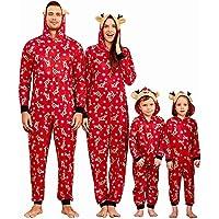 Yaffi Family Matching Pijamas Christmas Festival Onesie One Piece Xmas Deer Hooded Jumpsuit Ropa de Dormir Loungewear…