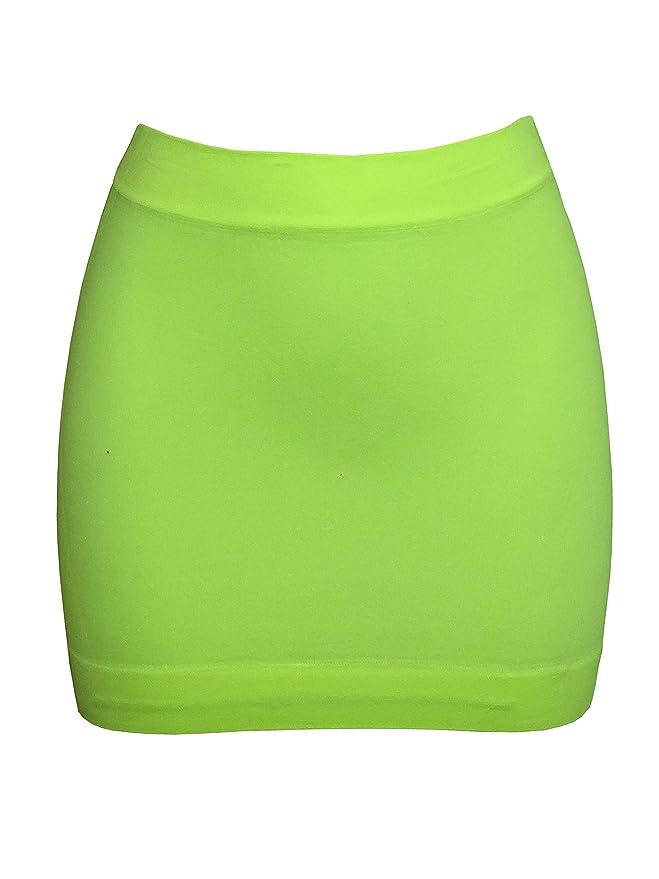 Faldas neón corta ajustada amarillo fosforito para mujer