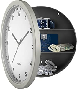 """Stalwart 82-5894 Hidden Compartment Wall 10"""" Battery Operated Working Analog Clock with Secret Interior Storage for Jewelry, Cash, Valuables"""