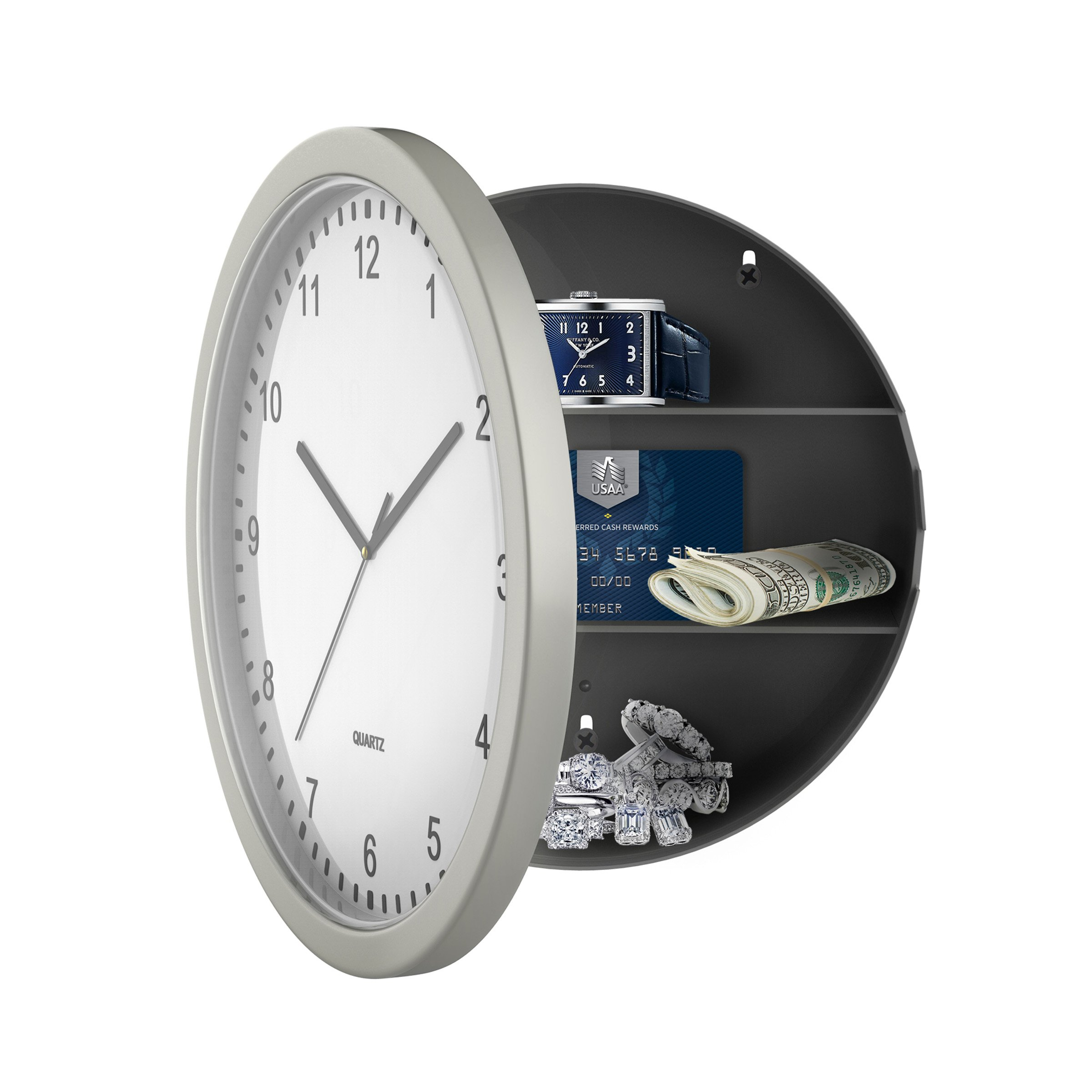 Stalwart 82-5894 Hidden Compartment Wall 10'' Battery Operated Working Analog Clock with Secret Interior Storage for Jewelry, Cash, Valuables by Stalwart