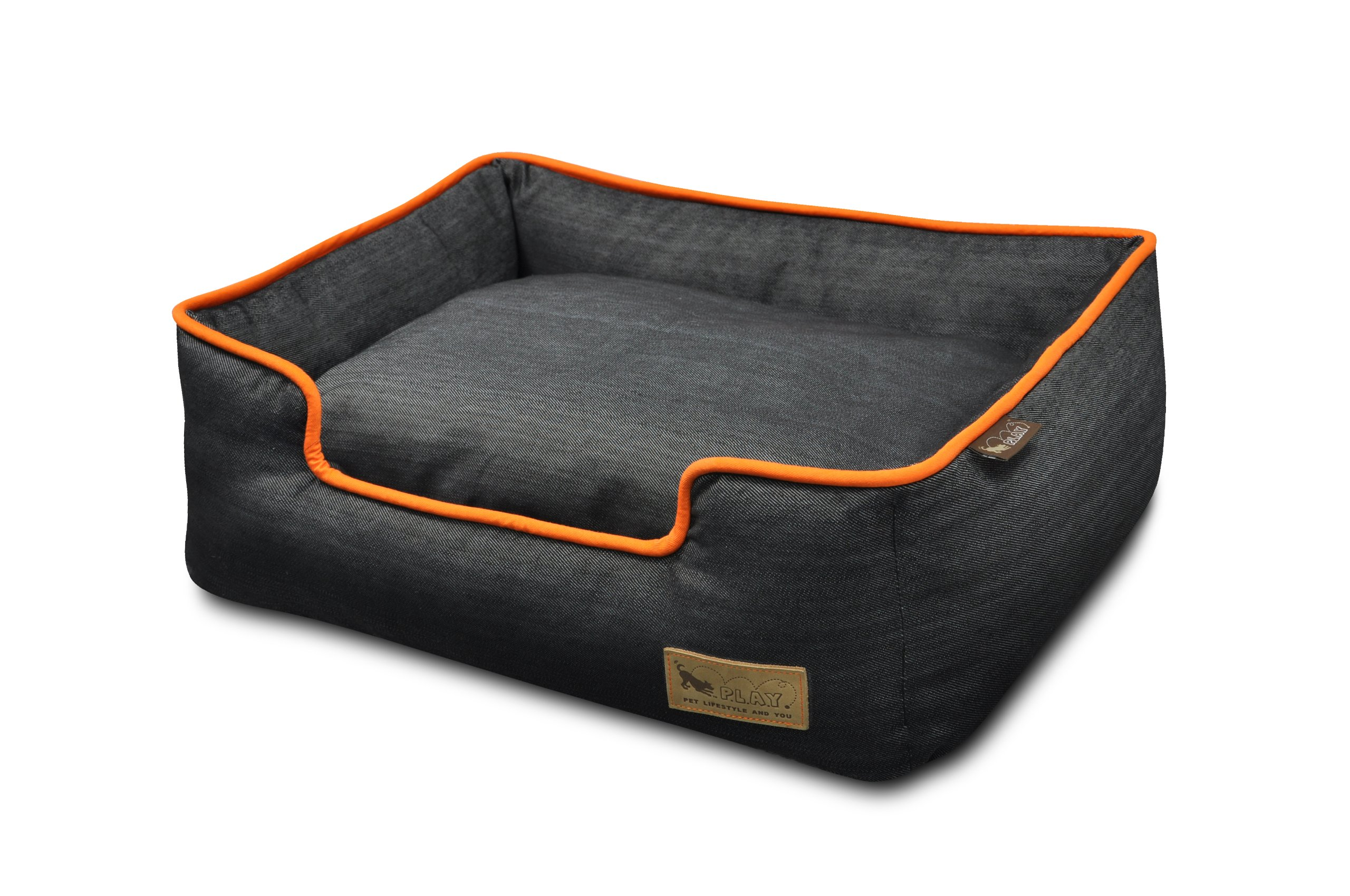 P.L.A.Y. Pet Lifestyle and You Denim Orange Lounge Bed for Dogs, Large