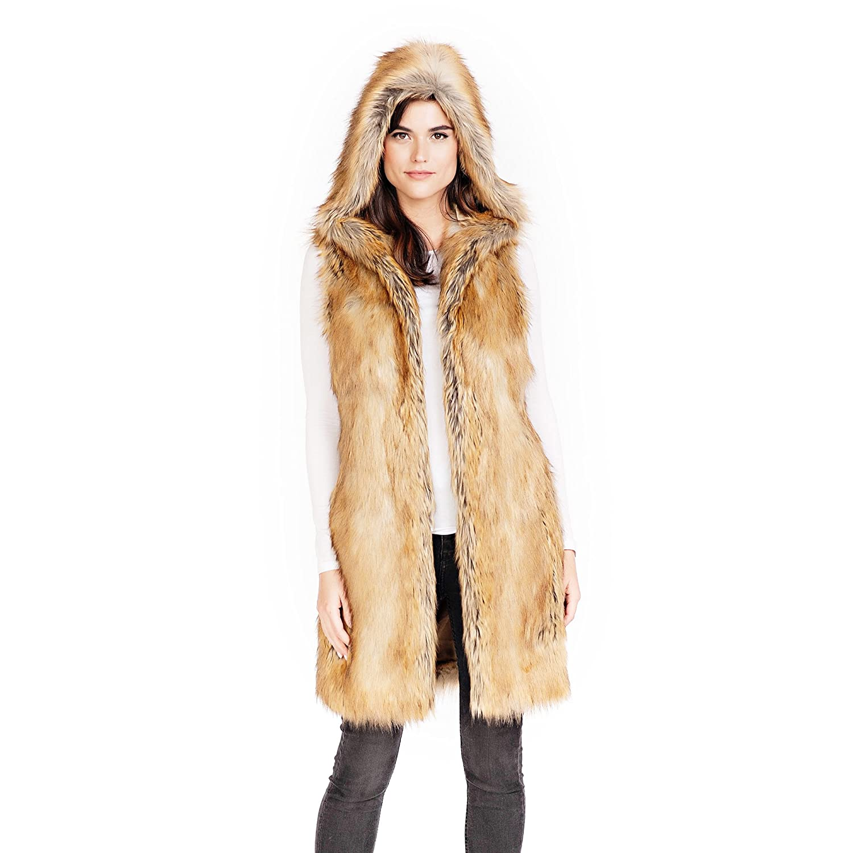 a1f78dfc9 Donna Salyers' Fabulous-Furs Gold Fox Hooded Faux Fur Knee-Length Vest at  Amazon Women's Coats Shop