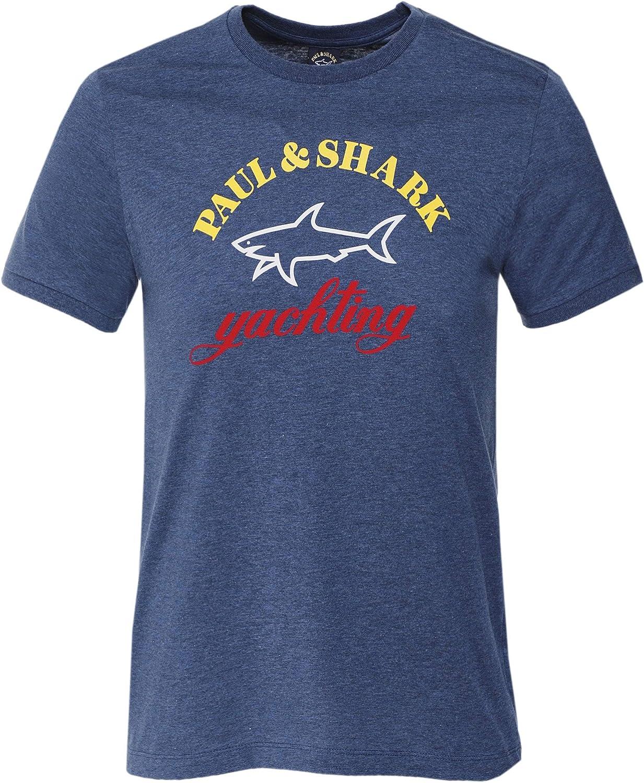Paul and Shark Men's Crew Neck Logo T-Shirt Blue