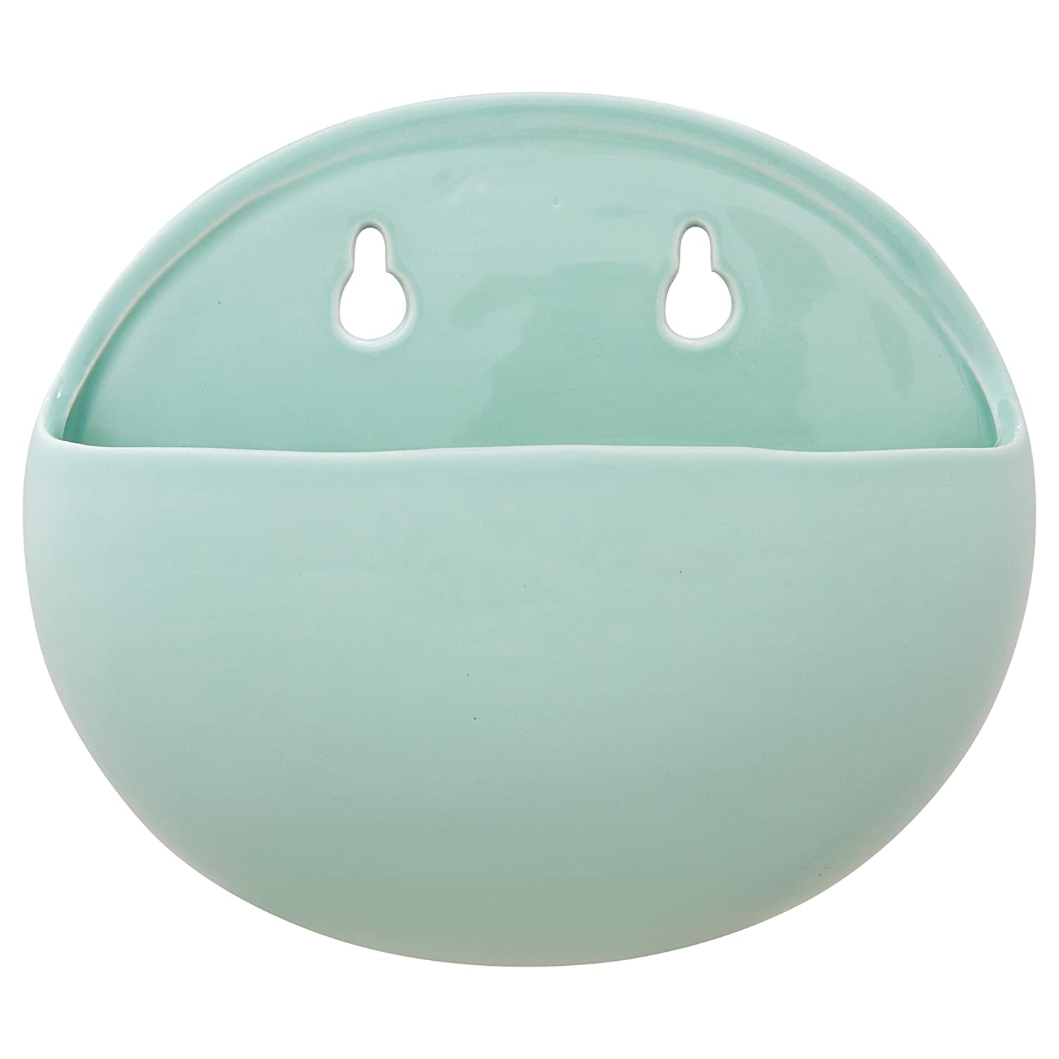 "Rivet Rounded Wall Mount Planter, 6.25""H, Modern Earthenware, Aqua"