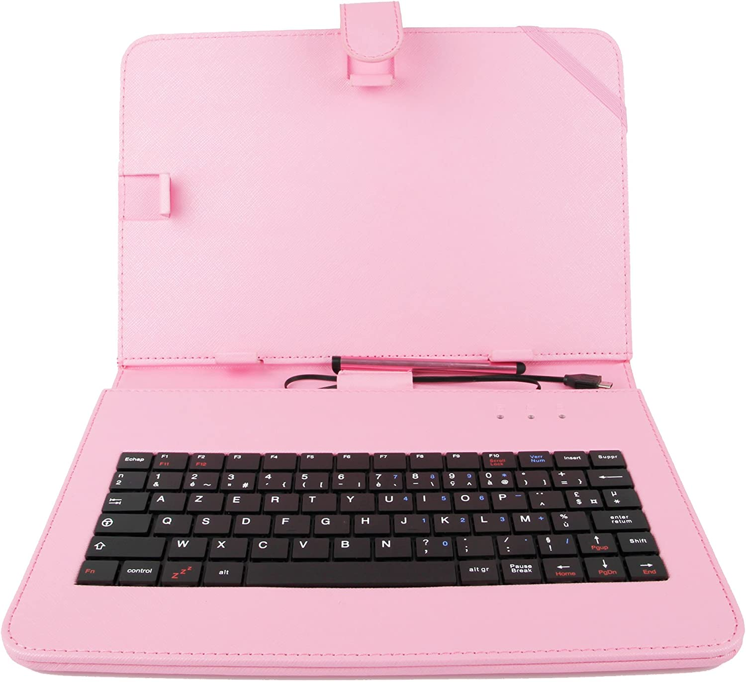 DURAGADGET Pink Faux Leather French Keyboard Case w/Stand - Compatible with Acer Iconia Tab A3 | Aspire Iconia Tab A500 10.1 inch & Ionia A200 Tablets