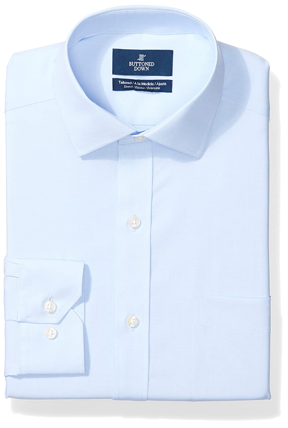 Buttoned Down Men's Tailored Fit Stretch Poplin Non-Iron Dress Shirt MBD30022