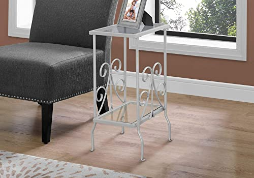 HomeRoots Silver,Clear Metal,Tempered Glass Accent Table