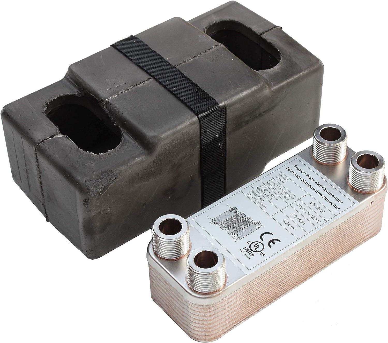 Edelstahl Plattenw/ärmetauscher B3-12-12 mit 2x1//2 /& 2x3//4 Zoll Anschl PWT 25kW Heizung Solar
