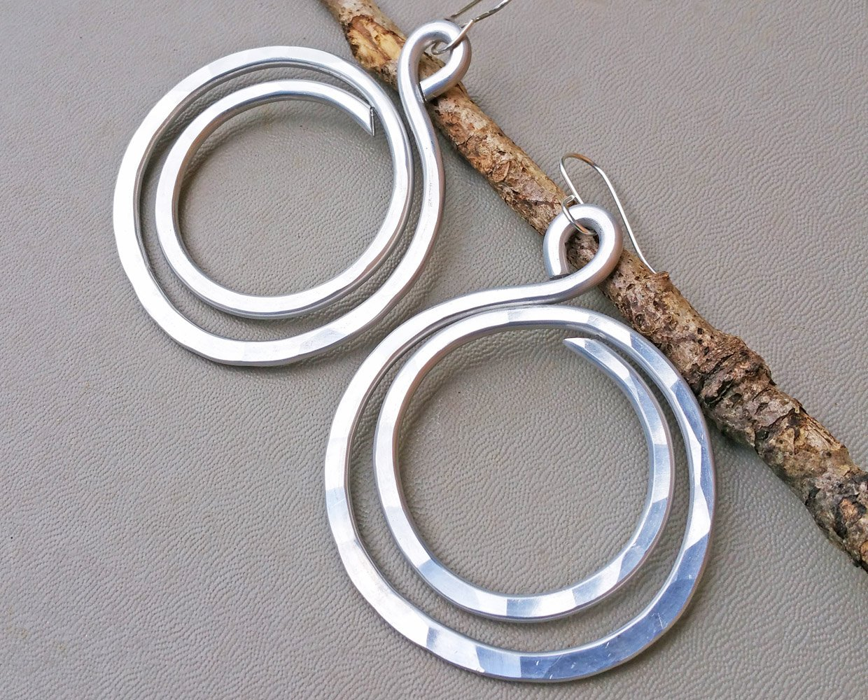 Very Big Double Hoop Aluminum Earrings, Light Weight Statement Jewelry Handmade in Oregon USA