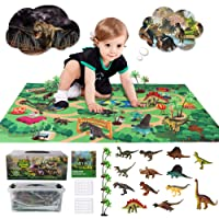 Sinceroduct Dinosaur Toys Activity Play Mat 47.2 x 31.5 in - 13 Realistic Dinosaur Figures Playset to Create a Dino World Including T-Rex, Educational Toy for Age 3 4 5 6 Year Old, Best Gift
