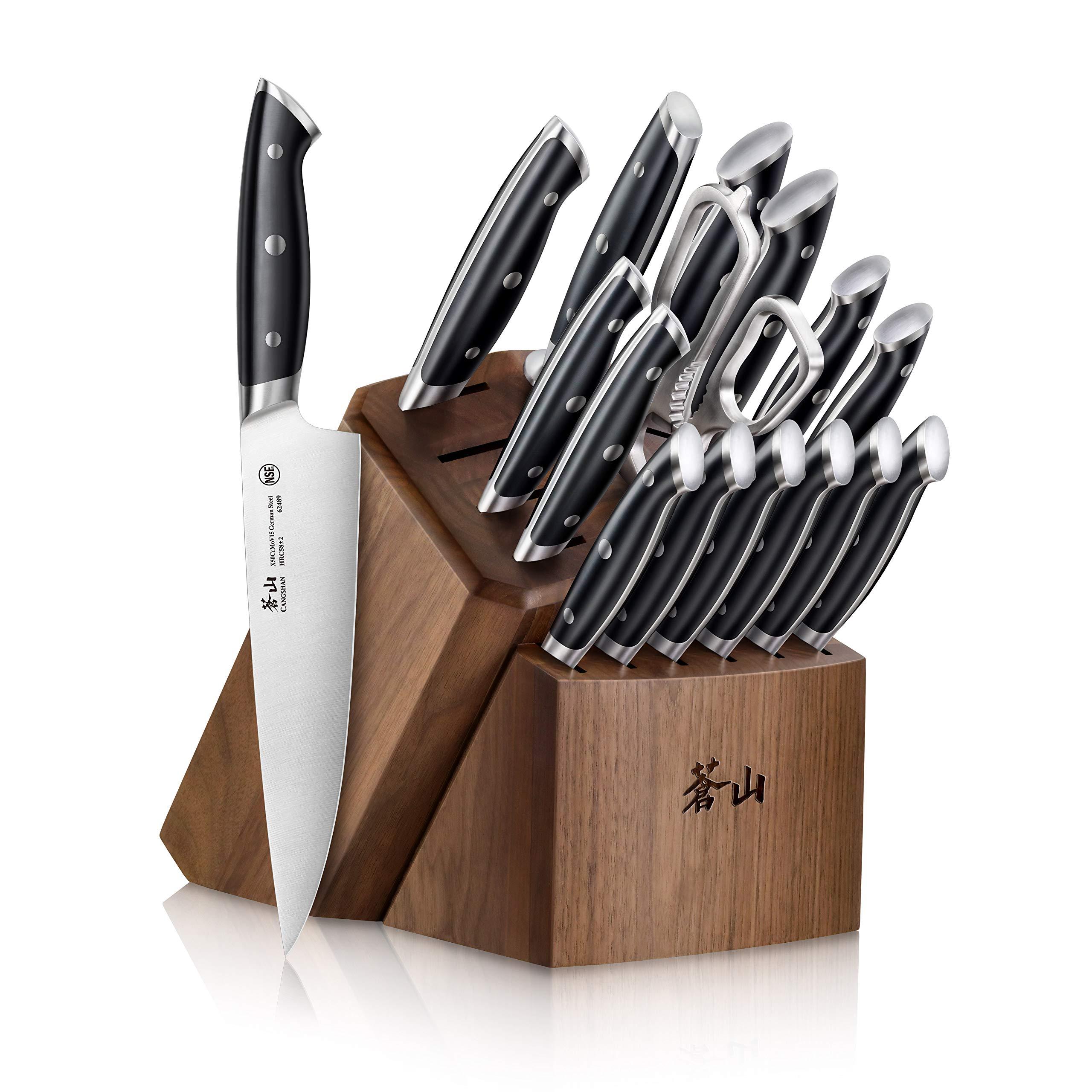 Cangshan Z Series 1024180 German Steel Forged 17-Piece Knife Block Set, Walnut by Cangshan