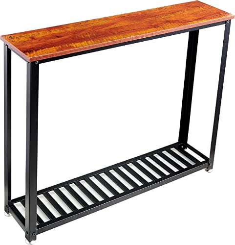 Loglus Sofa Table Console Table with Metal Shelf for Living Room, Office, Easy Assembly