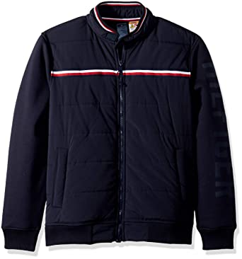 Tommy Hilfiger Men's Adaptive Bomber Jacket with Magnetic