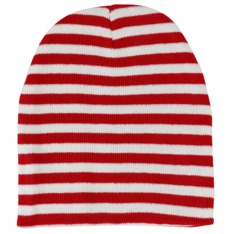 Armycrew Red White Stripe Short Skull Beanie