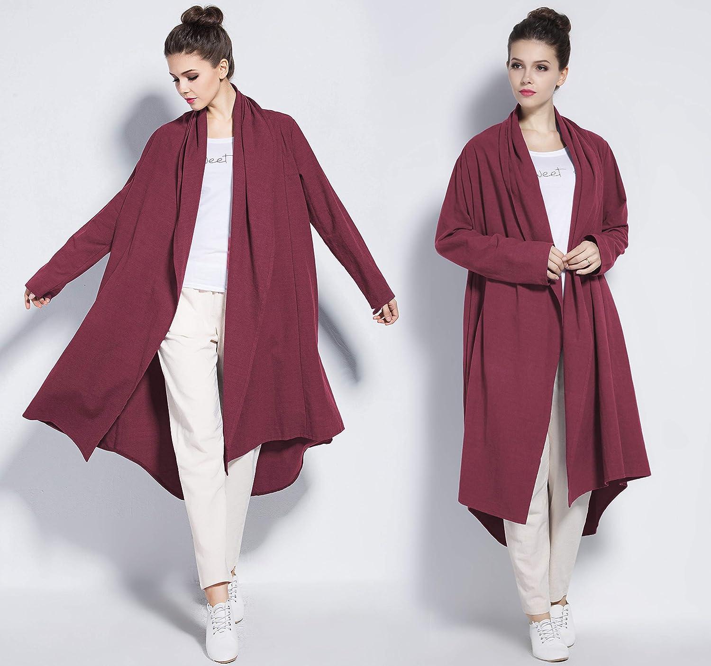 0c3670e1e4b Anysize Soft Linen Cotton Cardigan Spring Fall Winter Coat Plus Size  Clothing Y80 at Amazon Women's Clothing store: