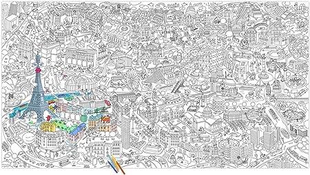 XXL-Póster para colorear tamaño gigante, diseño de París: plongez el corazón de la capital para