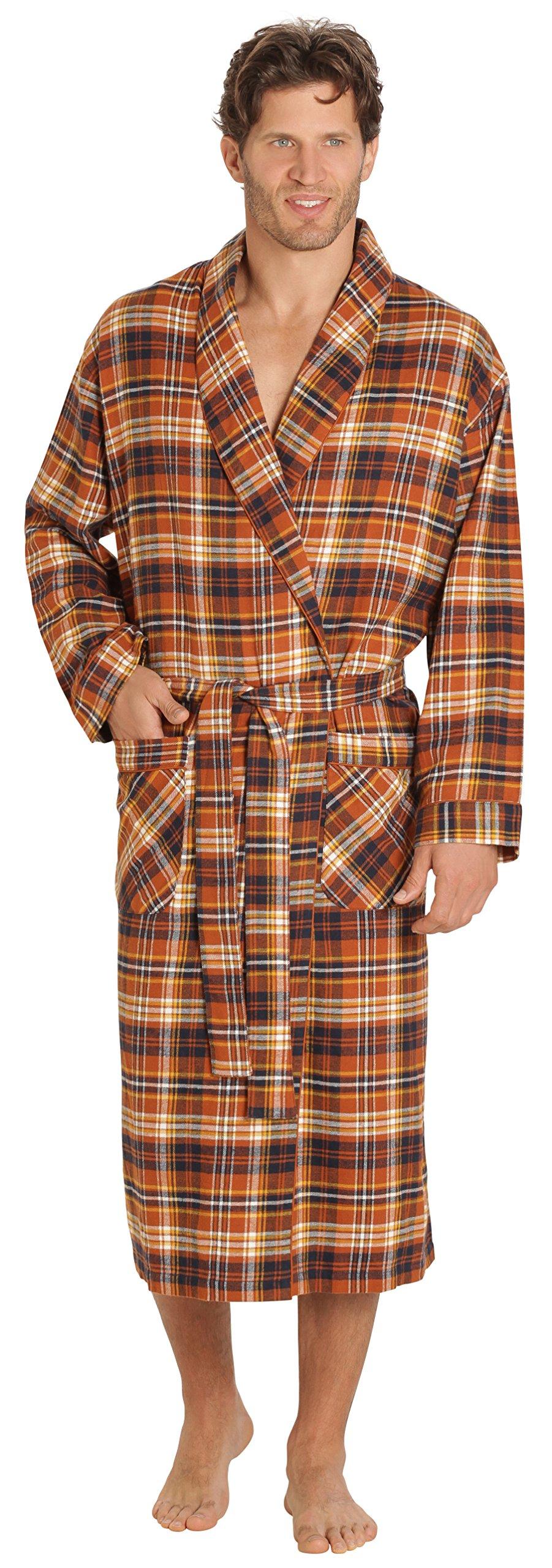 EVERDREAM Mens Flannel Robe, Shawl Collar Lightweight 100% Cotton Bathrobe, Size XX-Large/XXX-Large Brown Rust