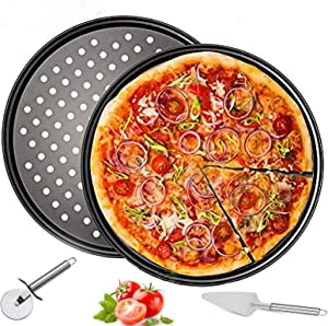 """2 Pack Pizza Pan Round Pizza board + Pizza Cutter + Pizza Slicer 12.5"""" Carbon Steel Pizza Baking Pan Non-Stick Cake Pizza Crisper Server Tray Stand for Home Kitchen Oven Restaurant Pizza Bakeware"""