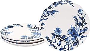 Bico Watercolor Blue Flower Ceramic 8.75 inch Scalloped Salad Plates, Set of 4, for Salad, Appetizer, Microwave & Dishwasher Safe