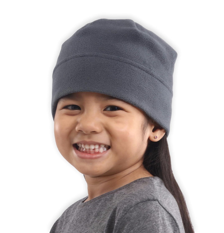 フリースビーニー帽子子供用 – ブラックのスカルキャップビーニー  グレー B0761263M4