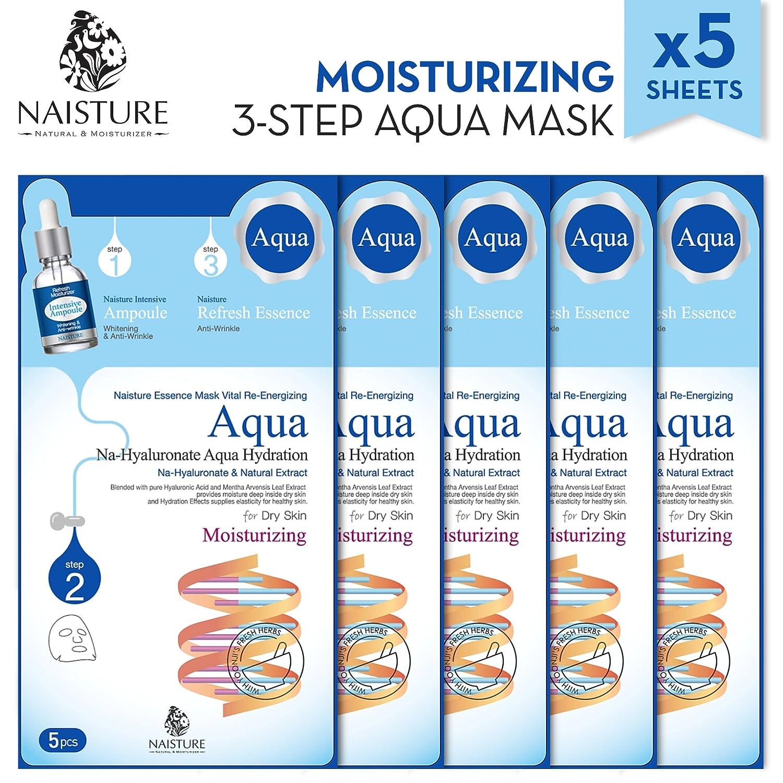 Naisture Aqua Essence 3 stufige Gesichtsmasken Pack 5 Blätter – Komplett natürlicher Feuchtigkeit trakt Amazon Beauty