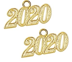 Shapenty Metal Year Signet 2020 DIY Pendant Charms Accessory for Bracelet Necklace Earrings Keychain Zipper Pulls Cellphone Crafting Jewelry Making Christmas Graduation Party Decor, 2PCS (Gold)