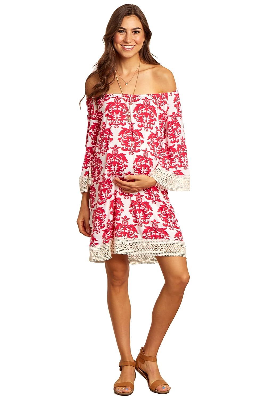 Pinkblush Maternity Fuchsia Damask Crochet Trim Off Shoulder