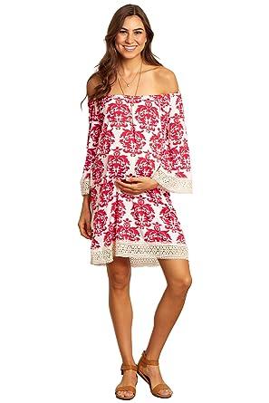 7fe0586d09 PinkBlush Maternity Fuchsia Damask Crochet Trim Off Shoulder ...