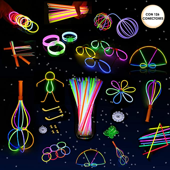 Set de 110 varitas luminosas neón para fiestas