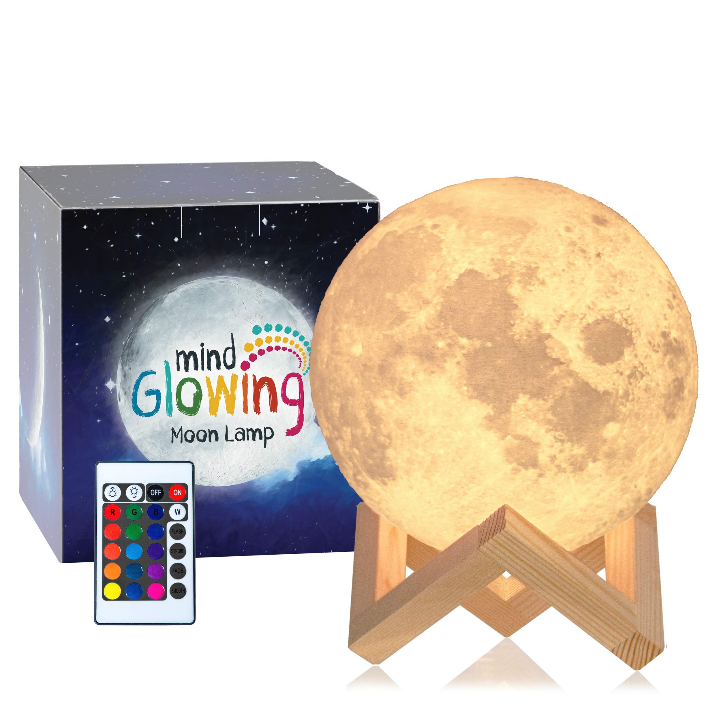 Mind-glowing 3D Moon Lamp - 16 LED Colors, Dimmable, Rechargeable Lunar Night Light (Large, 5.9in) Full Set with Wooden Stand, Remote & Touch Control - Cool Nursery Decor for your Baby, Top Gift Idea