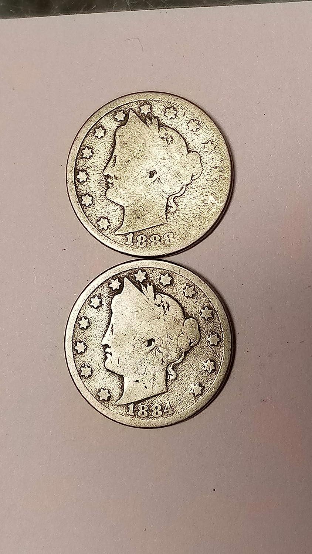 1884 &1888-P LIBERTY V NICKELS-2 SEMI-KEY DATES-AFFORDABLE