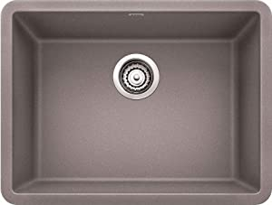 "Blanco 24-24x18 522413 Precis 23-1/2"" Single Bowl Silgranit Undermount Kitchen Sink Metallic Gray, 33"" L x 22"" W x 8.6"" H"