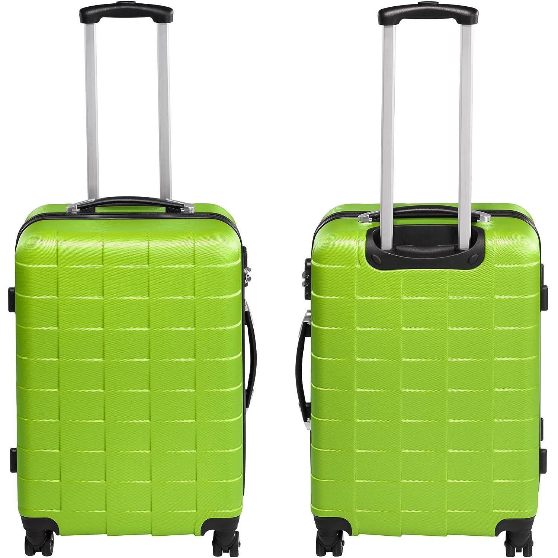 TecTake Set 3 Piezas Maletas ABS Juego de Maletas de Viaje Trolley Maleta Dura | 4 Ruedas de 360º | 2 Mangos y un asa telescópica (Verde | no.